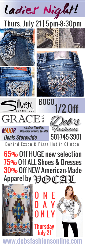 New Apparel, New Jeans, and New Specials! ONE NIGHT ONLY!